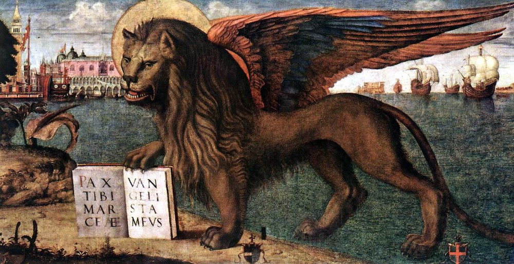 1516_Vittore_Carpacci,_The_Lion_of_St_Mark_(detail)_Tempera_on_canvas,_Palazzo_Ducale,_Venice